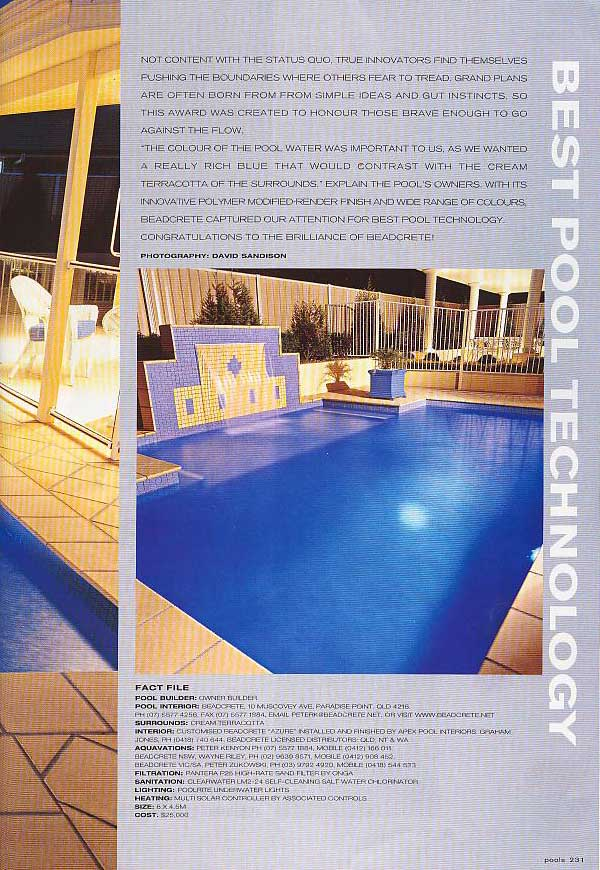 Beadcrete Pool Magazine Features Lifestyle Awards
